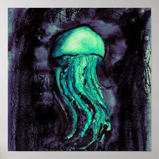 Teal Watercolor Jellyfish Poster