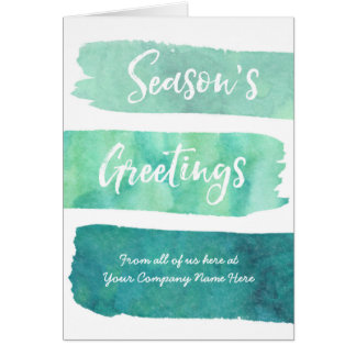 Teal Watercolor Modern Corporate Christmas Card