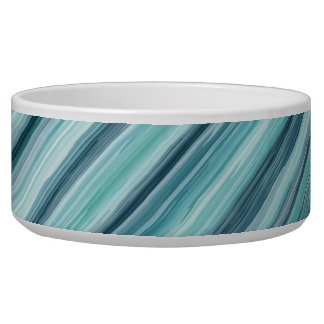 Teal Watercolor Painted Stripes (Teal, Cyan, Blue) Dog Food Bowls