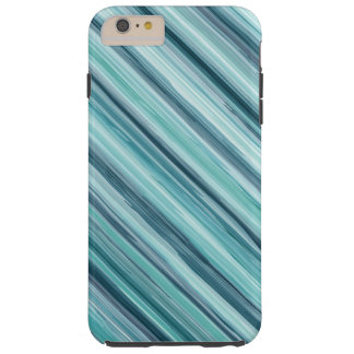 Teal Watercolor Painted Stripes (Teal, Cyan, Blue) Tough iPhone 6 Plus Case