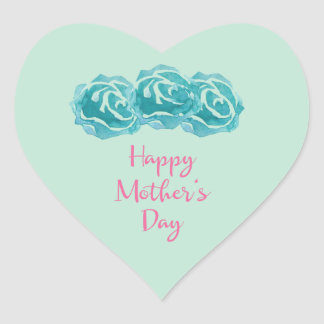 Teal Watercolor Roses Happy Mother's Day Heart Sticker