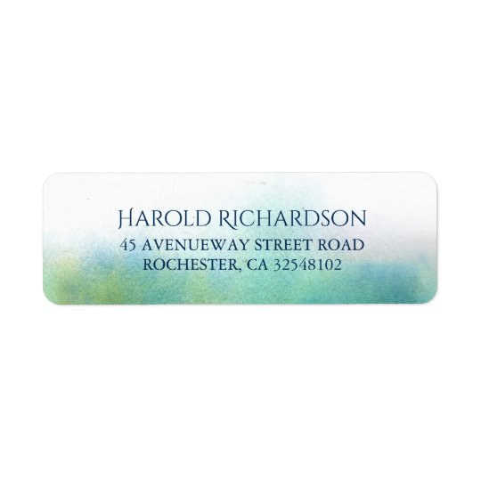 Teal Watercolor Shades Modern Wedding Return Address Label