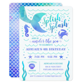 Teal Watercolor Under the Sea Mermaid Birthday Card