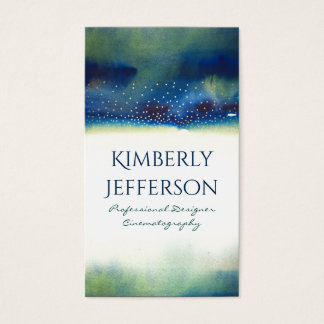 Teal Watercolors and Gold Confetti Dots Modern Business Card