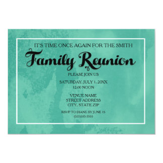 Teal Waterpaint Family Reunion Invitation