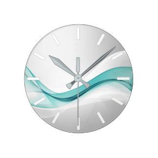 Teal Wave Abstract Wall Clock