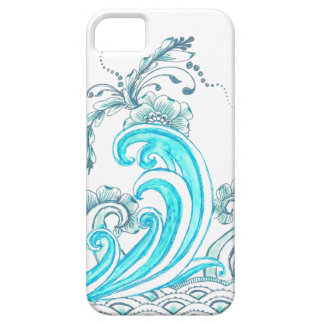 Teal Waves iPhone Case with Flowers