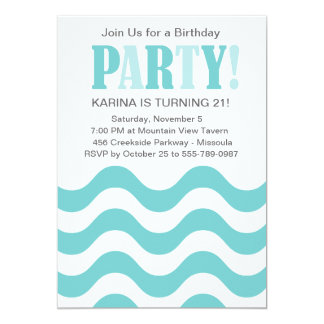 Teal Waves Party Invitation