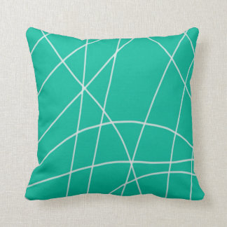 Teal Web Design Pattern Throw Pillow