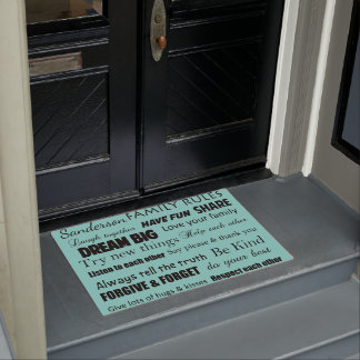 Teal Wedding Family Rules Personalize Door Mat