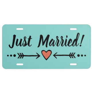Teal Wedding Heart Honeymoon | Just Married! Plate