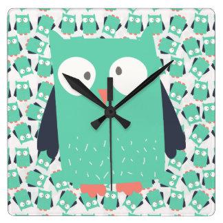 Teal Whimsical Owls Wallclocks