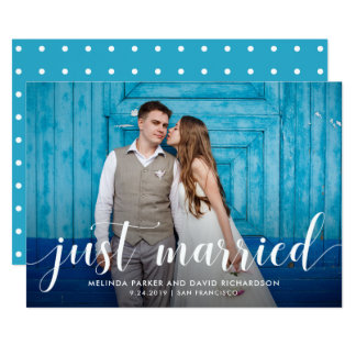 Teal Whimsy   Just Married Photo Announcement