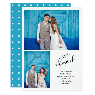 Teal Whimsy   Two Photo We Eloped Announcement