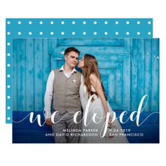 Teal Whimsy   We Eloped Photo Announcement