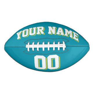 TEAL WHITE AND GOLD Custom Football