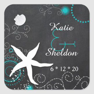 Teal + White Chalkboard Beach Wedding Square Sticker