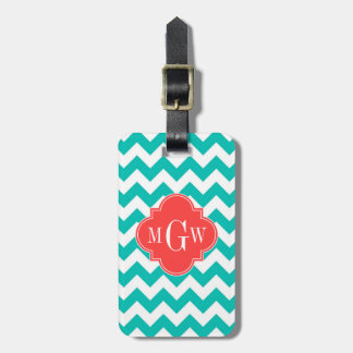 Teal White Chevron Coral Quatrefoil 3 Monogram Luggage Tag