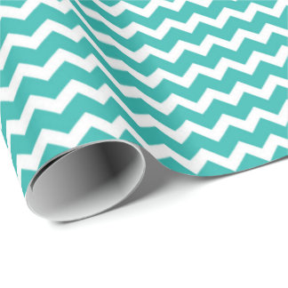 Teal White Chevron Pattern Wrapping Paper