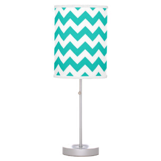 Teal White Chevron Zig-Zag Pattern Table Lamp