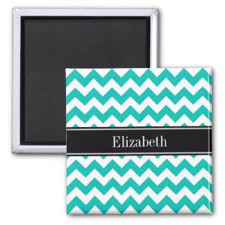 Teal White Chevron ZigZag Black Name Monogram Square Magnet