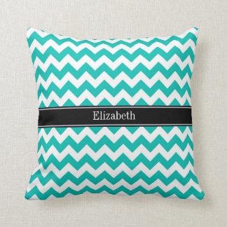 Teal White Chevron ZigZag Black Name Monogram Throw Pillow