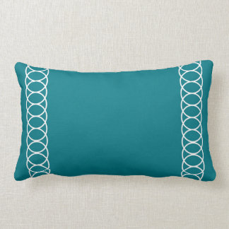 Teal & White Circle Trellis Lumbar Pillow