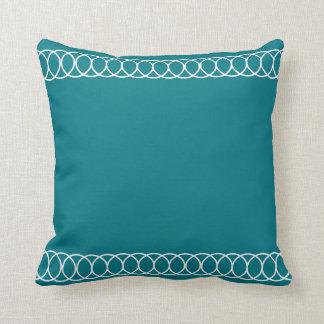 Teal & White Circle Trellis Throw Pillow