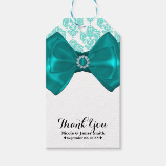 Teal & White Damask Bling Bow Glam Sweet 16 Party Gift Tags