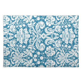 Teal White Damask Floral Pattern Place Mats
