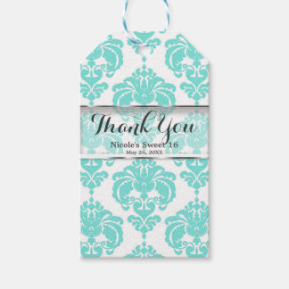 Teal & White Damask Vintage Wedding Event Favor Gift Tags