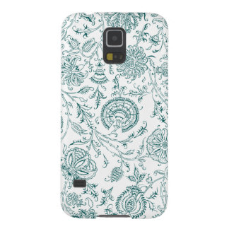 Teal & White Flower Pattern Galaxy S5 Case