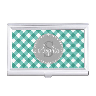 Teal White Gingham Plaid Pattern Monogram Business Card Holder