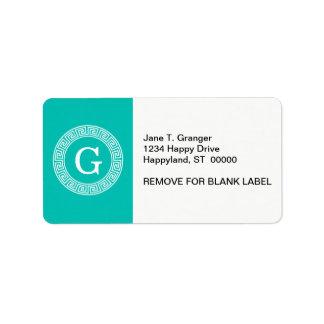 Teal White Greek Key Round Frame Initial Monogram Label