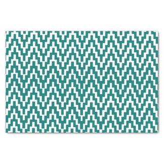 Teal White Ikat Chevron Zig Zag Stripes Pattern Tissue Paper