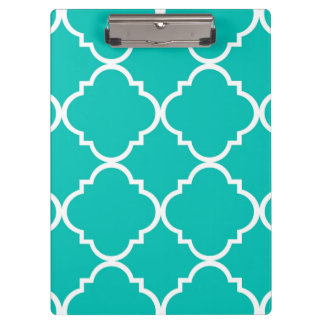 Teal White Large Quatrefoil Pattern Clipboard