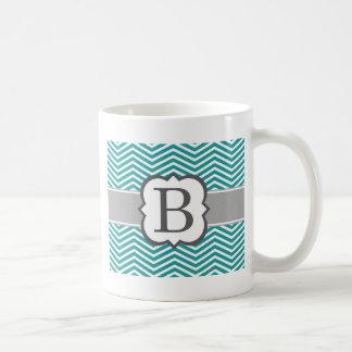 Teal White Monogram Letter B Chevron Coffee Mug