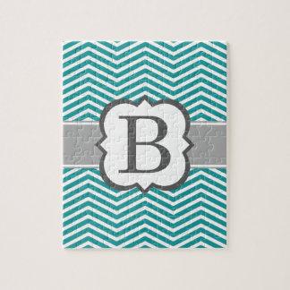 Teal White Monogram Letter B Chevron Jigsaw Puzzle