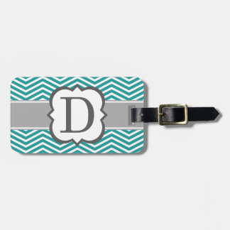 Teal White Monogram Letter D Chevron Luggage Tag