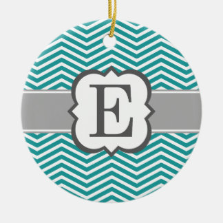Teal White Monogram Letter E Chevron Ceramic Ornament
