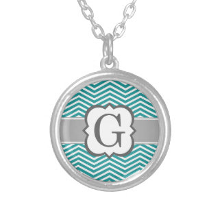 Teal White Monogram Letter G Chevron Silver Plated Necklace