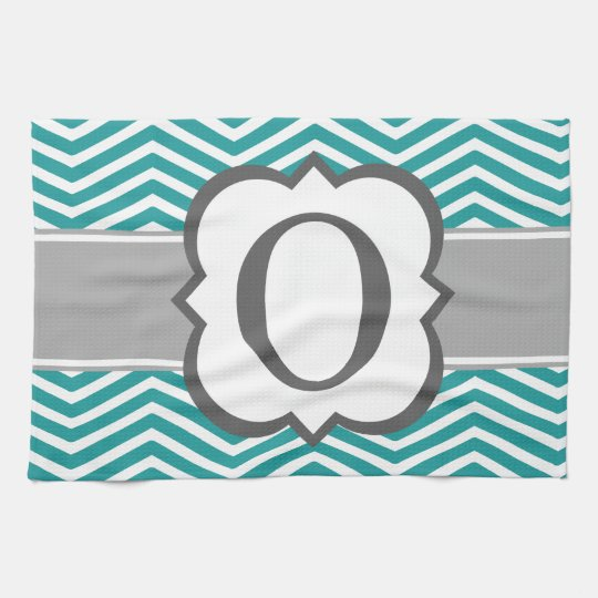 Teal White Monogram Letter O Chevron Kitchen Towel