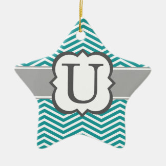 Teal White Monogram Letter U Chevron Ceramic Star Ornament