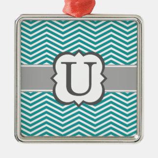 Teal White Monogram Letter U Chevron Silver-Colored Square Ornament