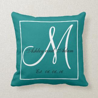 Teal White Monogram Wedding Keepsake Pillow