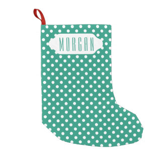 Teal & white polka dots custom Christmas stocking
