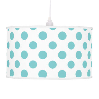 Teal White Polka Dots Pattern Pendant Lamp