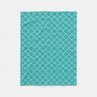 Teal White Quatrefoil Pattern Blanket