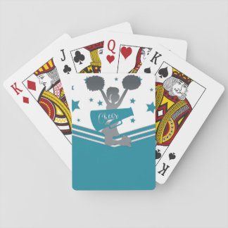 Teal White Silver Stars Cheer Cheer-leading Playing Cards