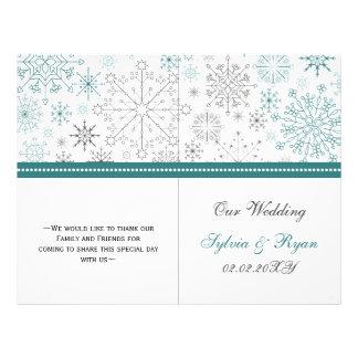 Teal White snowflakes winter wedding Flyer